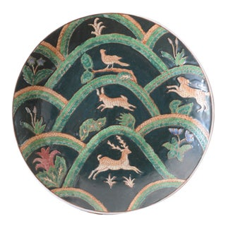 Asian Antelope Green Porcelain Decorative Plate For Sale