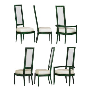Charles Hollis Jones Green Malachite & Lucite Dining Chairs - a Pair