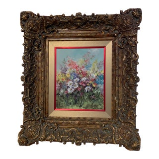 1950 Floral Oil on Canvas Original Painting by Gaydell Baines For Sale