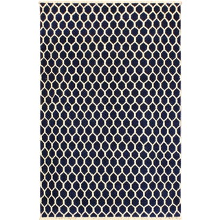 Ailsa Modern Thanh Blue/Ivory Wool&Silk Rug - 4'1 X 6'5 For Sale