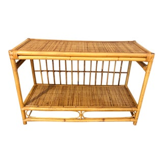 1960s Mid Century Boho Palm Beach Split Reed Bentwood Bamboo and Cane Tropical Bookshelf/Console Table/Media Stand For Sale