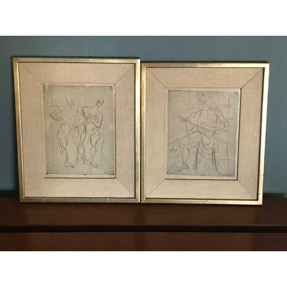1948 Germany Abstract Figural Etchings by Eduard Bargheer For Sale - Image 9 of 9