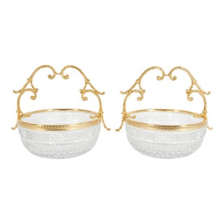 Early 20th Century Cut Crystal / Gilt Bronze Handle Bowls - a Pair For Sale