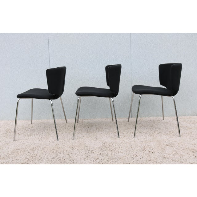 Black Modern Spain Mark Krusin for Coalesse Wrapp Stackable Black Guest Chair For Sale - Image 8 of 13