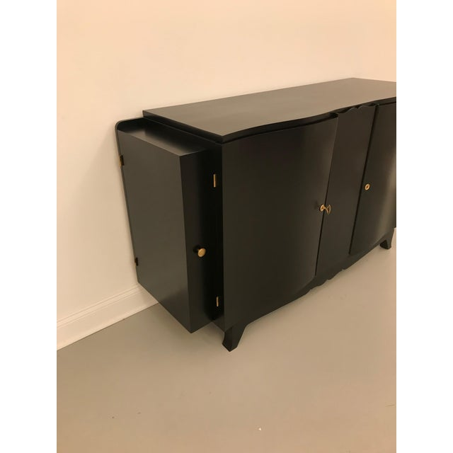 French Art Deco Black Lacquered Sideboard or Buffet With Dry Bar For Sale - Image 4 of 12