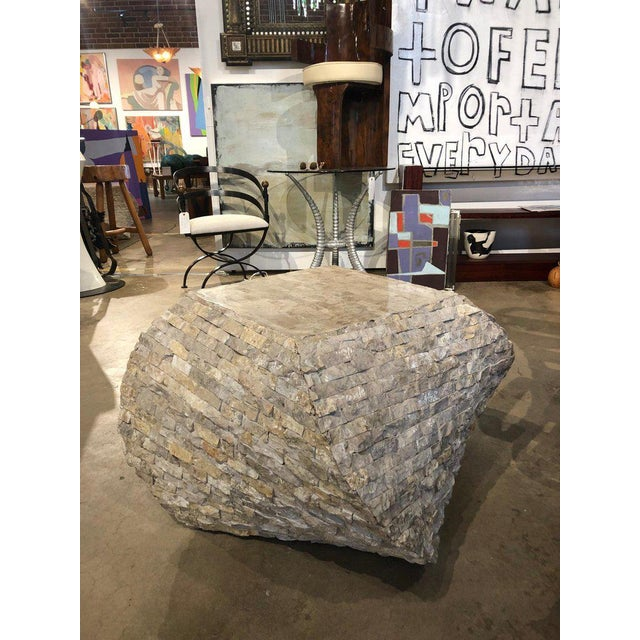 1990s Modern Marble Accent Table For Sale - Image 4 of 5