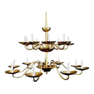 Brass Chandelier by Chapman For Sale