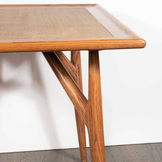 Mid-Century Modern Sculptural White Oak Table With Wrapped Linen Top For Sale In New York - Image 6 of 10