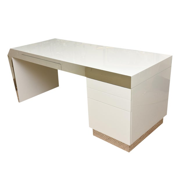 Monumental White Lacquered Wood and Stainless Steel Sculptural Desk For Sale