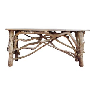 Rustic John Scarola Driftwood Console Table For Sale