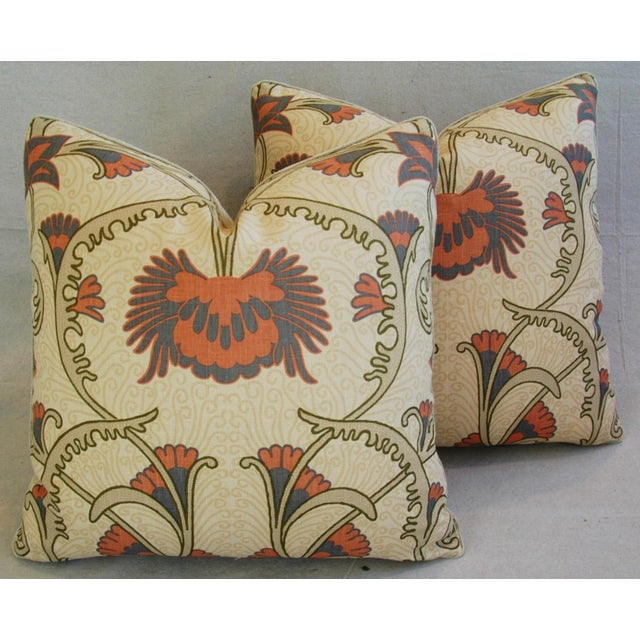 Pair of large reversible custom-tailored pillows in a vintage/never used linen fabric by Home Couture Quadrille Fabric...