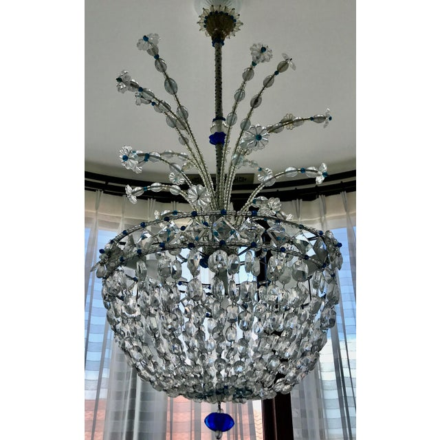 1940s Mid Century French Crystal Chandelier For Sale - Image 11 of 13