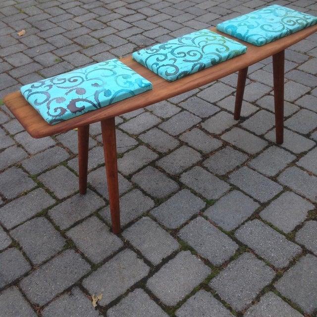 Teak and Batik Three Seater Bench - Image 2 of 6