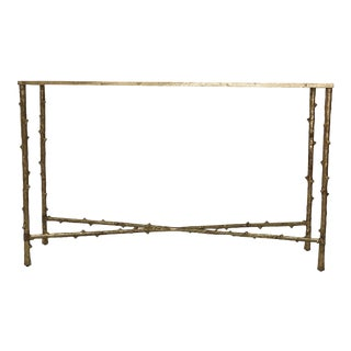 Contemporary Glostrup Entryway Iron Console Table With Glass For Sale
