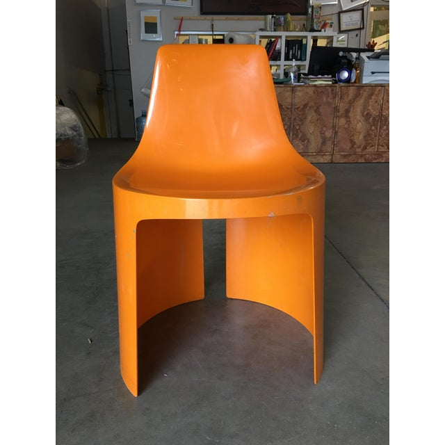 Mid-Century Modern Early Swedish Orange Plastic Stacking Side Chairs by Overman - Set of 4 For Sale - Image 3 of 9
