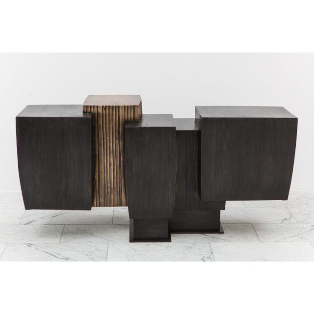 Bronze Gary Magakis, Blackened Steel and Layered Bronze Compact Console, USA, 2017 For Sale - Image 7 of 9