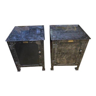 1890s Hand-Riveted Textile Machinist Cabinets - a Pair For Sale