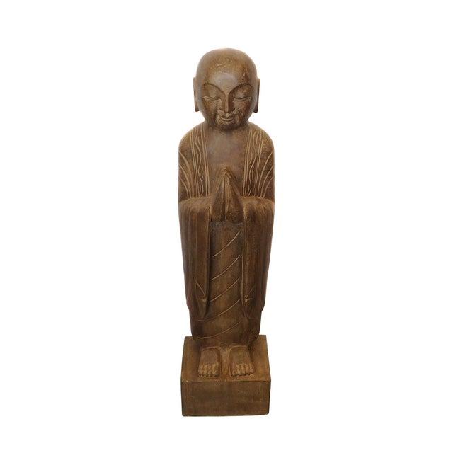 Chinese Monk Lohon Stone Statue - Image 2 of 7