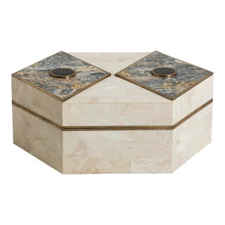 A Casa Bique Tessellated Stone and Marble Veneered Box 1980s