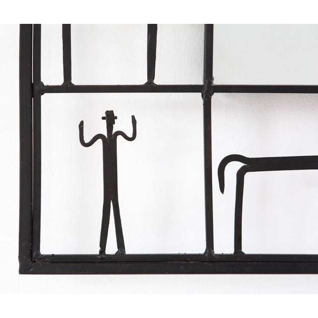 Figurative MCM Frederick Weinberg Iron Wall Mirror 1950s For Sale - Image 3 of 8