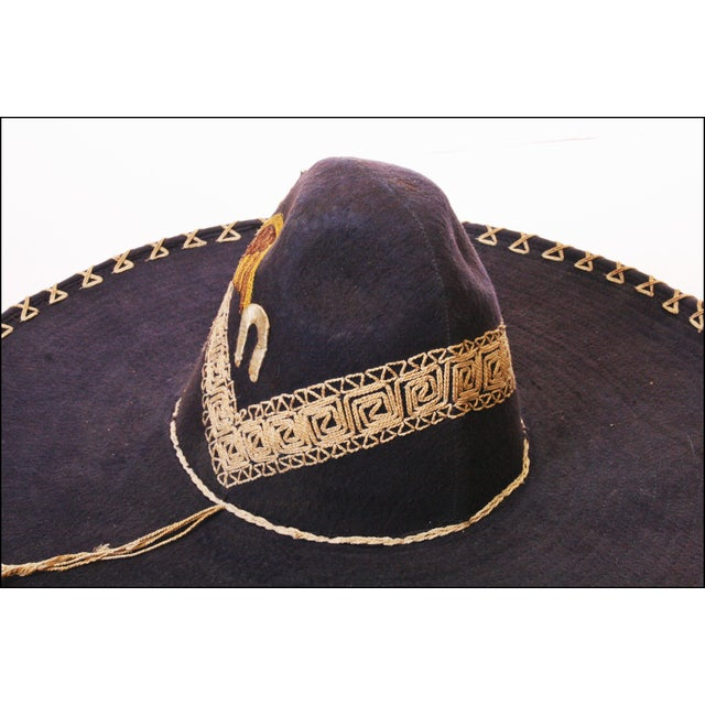 Early Mexican Navy Blue Embroidered Sombrero - Image 9 of 11