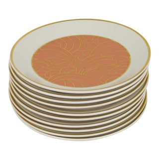Vintage Syracuse Peach and Gold Wave Dessert Plates - Set of 10 For Sale