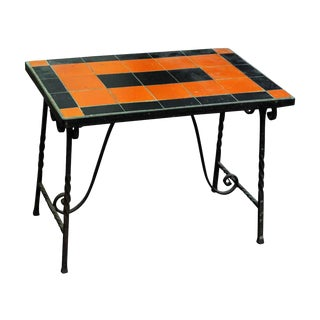 Early 20th Century Vintage Orange & Black Metal Patio Table For Sale
