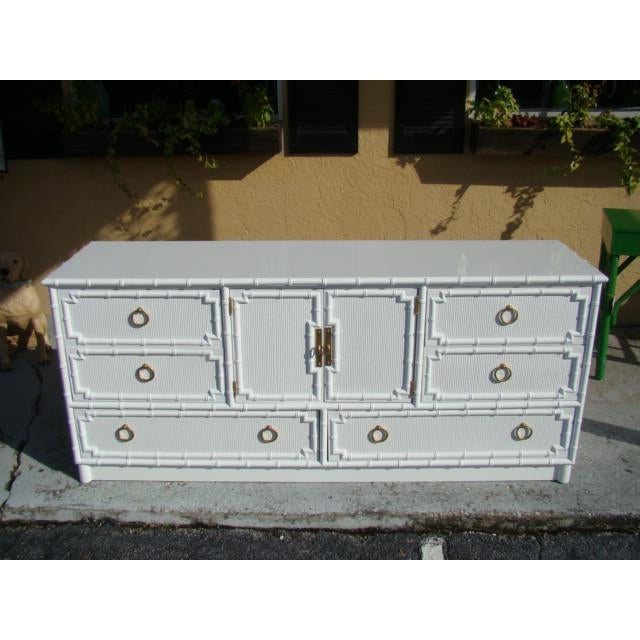 Bamboo 1960s Chinoiserie Bamboo Rattan Long Dresser For Sale - Image 7 of 7