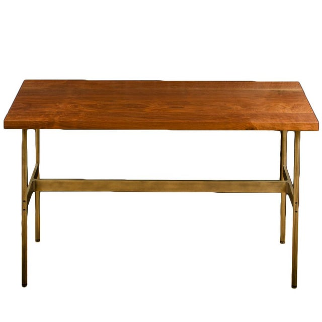 """Gratz Industries Contemporary """"Terenia"""" Walnut Top Console Table For Sale In Philadelphia - Image 6 of 6"""