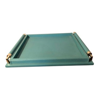 Global Views Turquoise Leather Tray