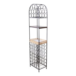 Arthur Umanoff Mid-Century Modern Wrought Iron Arched 39-Bottle Wine Rack For Sale