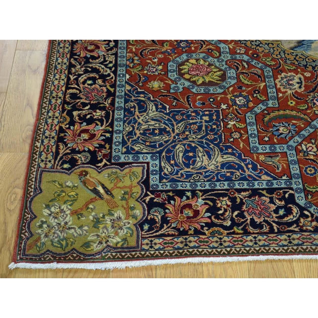 Antique Persian Tabriz Pictorial Rug- 4′7″ × 5′4″ For Sale In New York - Image 6 of 13