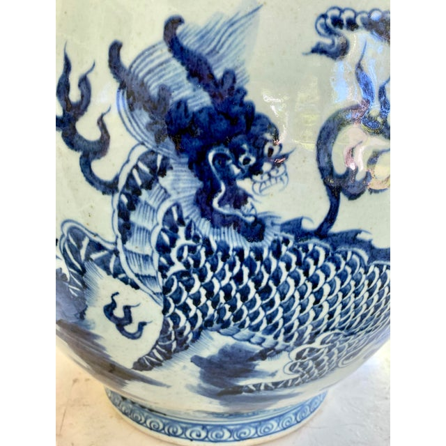 Asian Large Vintage Blue & White Dragons Asian Fish Bowl Planter Pot For Sale - Image 3 of 12