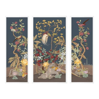 Forest & Pheasants by Allison Cosmos, Set of 3, in White Framed Paper, Medium Art Print For Sale