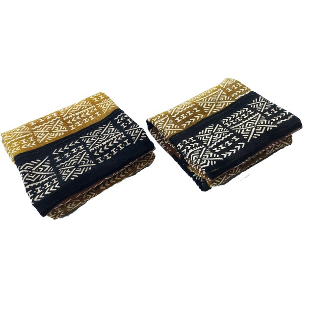 African Pair of Bogolan Mali Mud Cloth Textile For Sale - Image 3 of 7