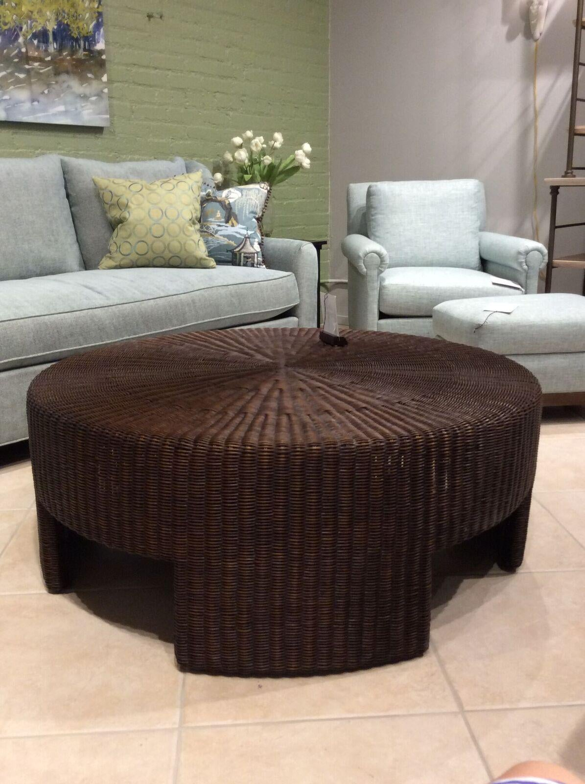 Wicker Round Coffee Table By Hickory Chair From Archive Collection. This  Wicker Table Is In