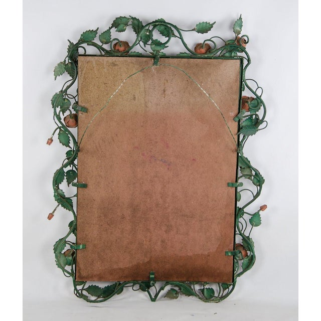 Mid-century Italian Toleware Rose Wall Mirror For Sale - Image 12 of 13