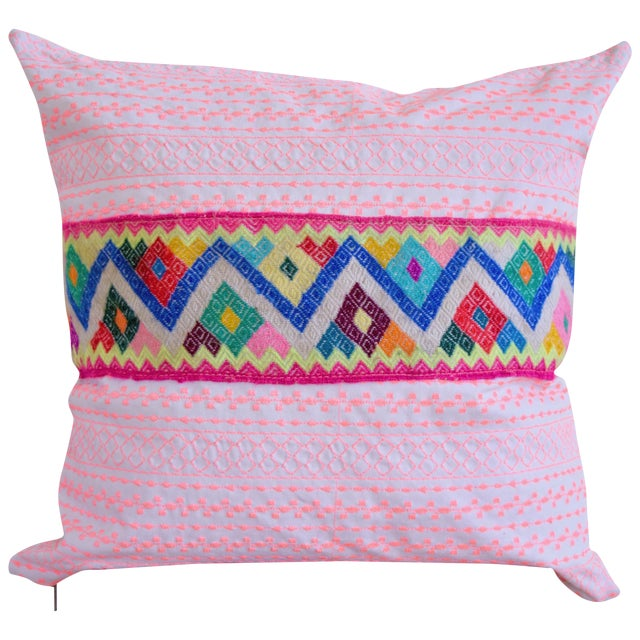 Pink Stitch & Peruvian Ribbon Pillow - Image 1 of 5