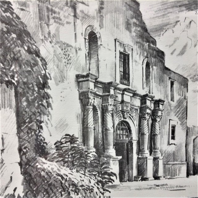 Impressionist Vintage Alamo Drawing by Edward Bearden For Sale - Image 3 of 7