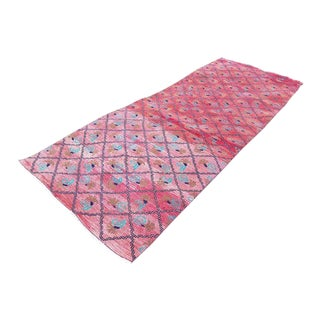 1970s Vintage Turkish Diamond Pattern Runner Rug - 3′11″ × 9′12″ For Sale