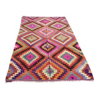 Pink Diamond Turkish Kilim Rug