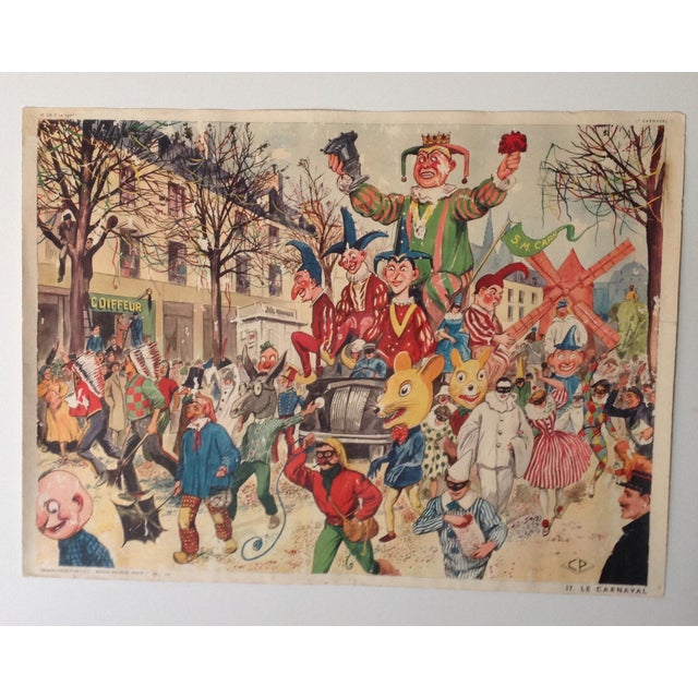 Vintage French School Poster of Carnaval. Chromolithograph For Sale In Naples, FL - Image 6 of 6