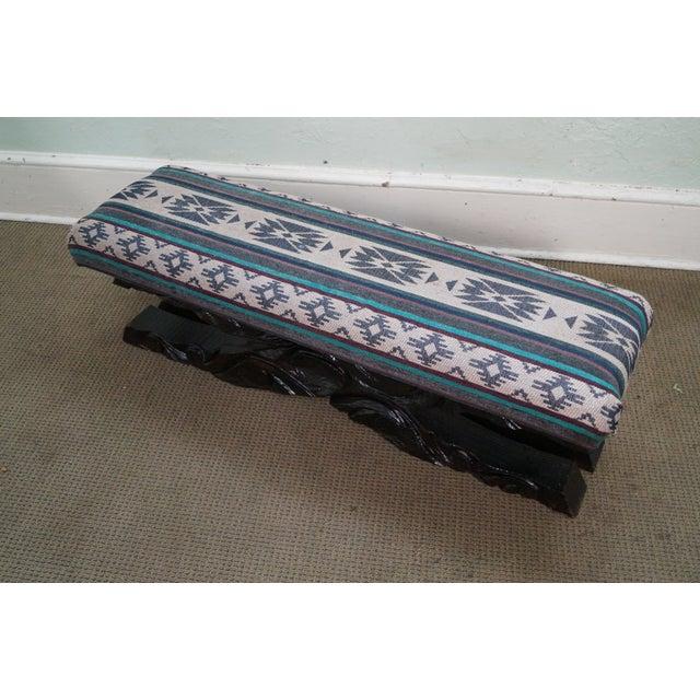 Witco Tiki Elvis Jungle Room Carved Redwood Bench For Sale - Image 9 of 10