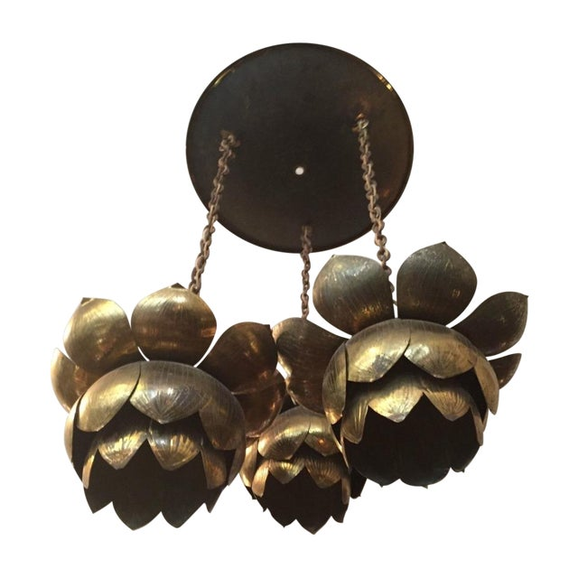 Feldman Three-Light Lotus Brass Chandelier - Image 1 of 11