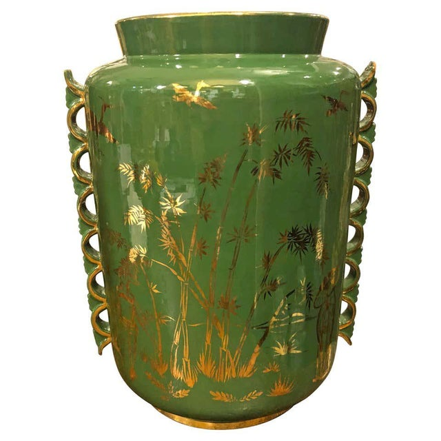1960s Italian Mid-Century Modern Green and Gold Ceramic Vase For Sale - Image 13 of 13