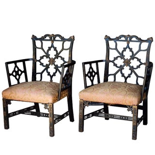 Ebony Chippendale Chairs With Gilding and Chinoiserie, 19th Century, Pair