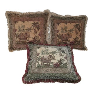 Vintage Asian Elephant & Monkey Tapestry Accent Pillows With Fringe - Set of 3 For Sale