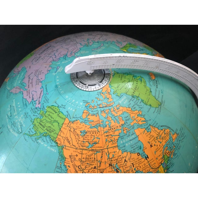 1970s Vintage Blue Replogle Table Globe With White Base For Sale - Image 9 of 13