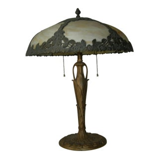 Art Nouveau EM&Co. Lamp With Slag Glass Shade For Sale