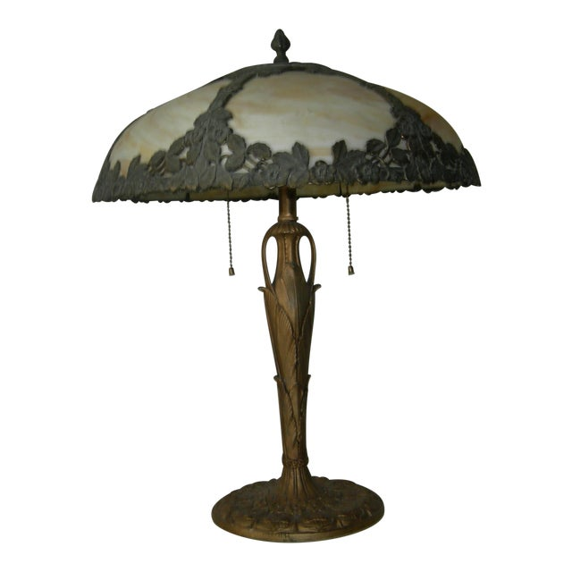 Art Nouveau EM&Co. Lamp With Slag Glass Shade For Sale